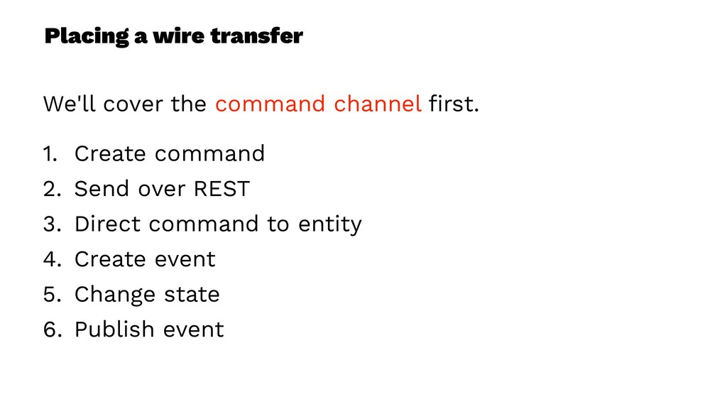Placing a wire transfer We'll cover the command...