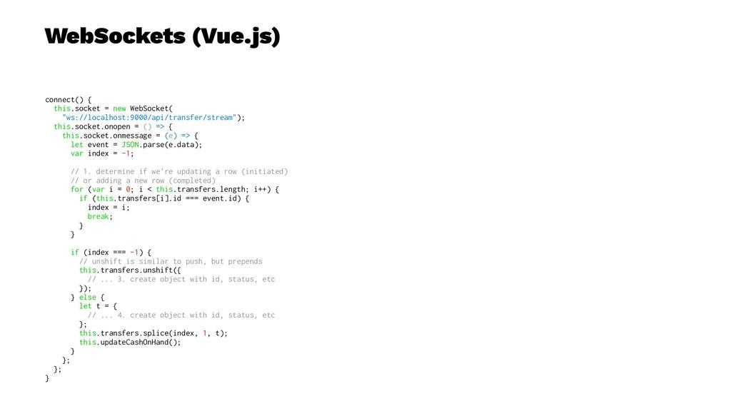 WebSockets (Vue.js) connect() { this.socket = n...