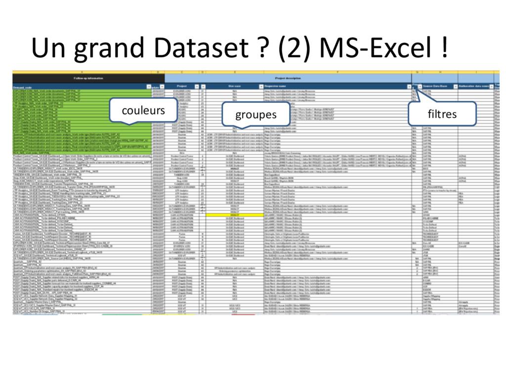 Un grand Dataset ? (2) MS-Excel ! couleurs grou...
