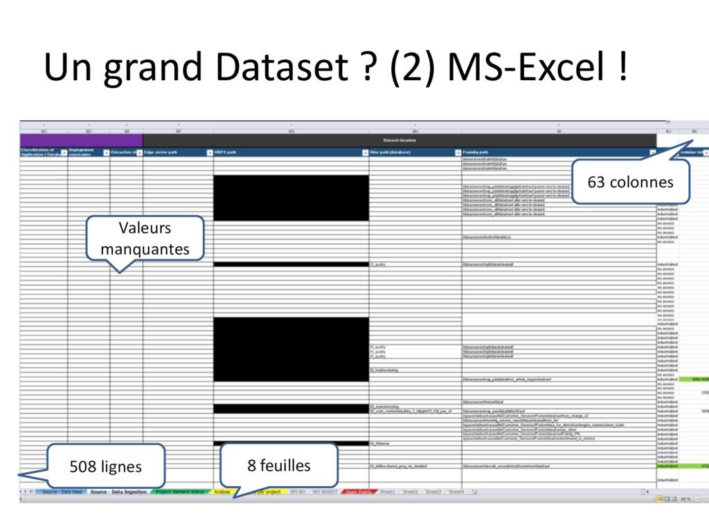Un grand Dataset ? (2) MS-Excel ! Valeurs manqu...