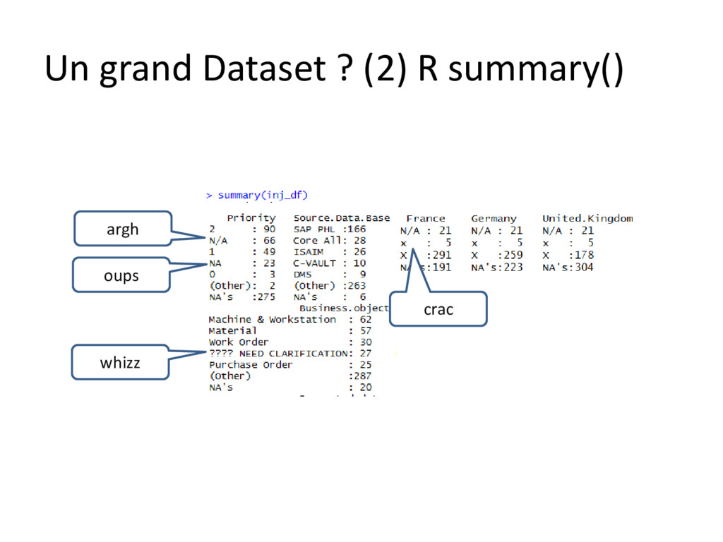Un grand Dataset ? (2) R summary() argh oups wh...