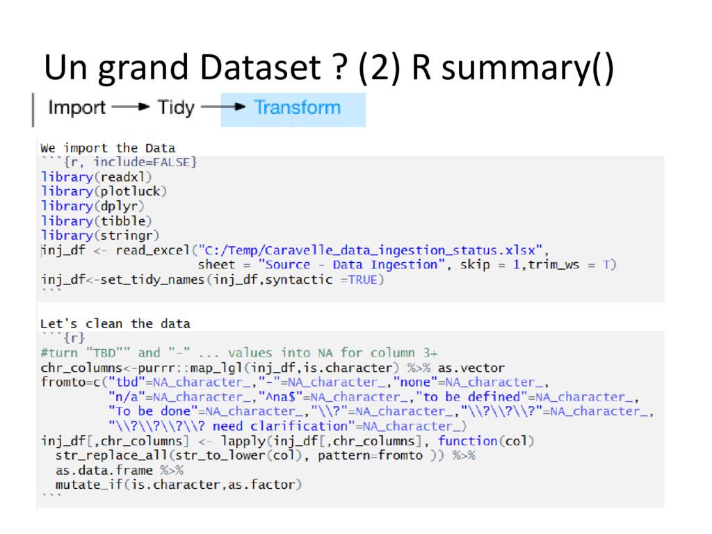 Un grand Dataset ? (2) R summary()