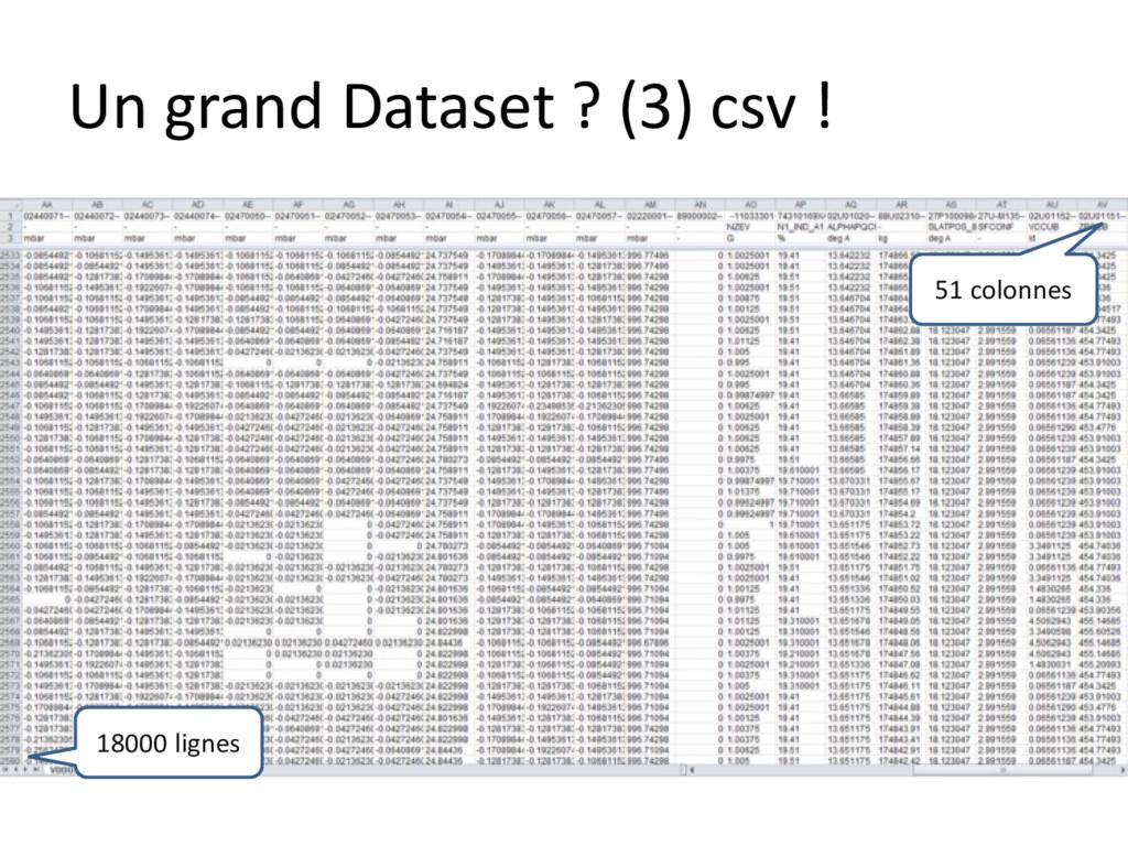 Un grand Dataset ? (3) csv ! 51 colonnes 18000 ...