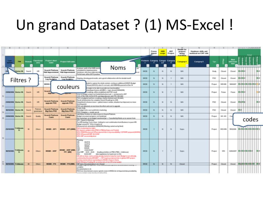 Un grand Dataset ? (1) MS-Excel ! couleurs code...