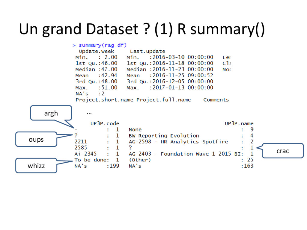 Un grand Dataset ? (1) R summary() argh oups wh...