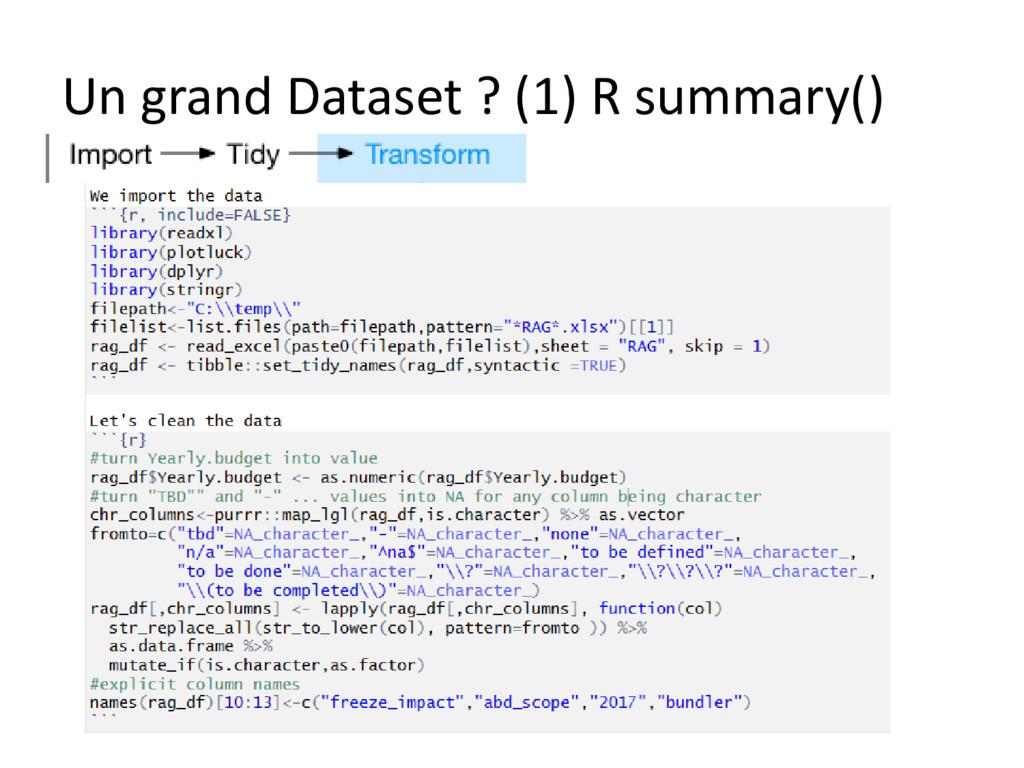Un grand Dataset ? (1) R summary()