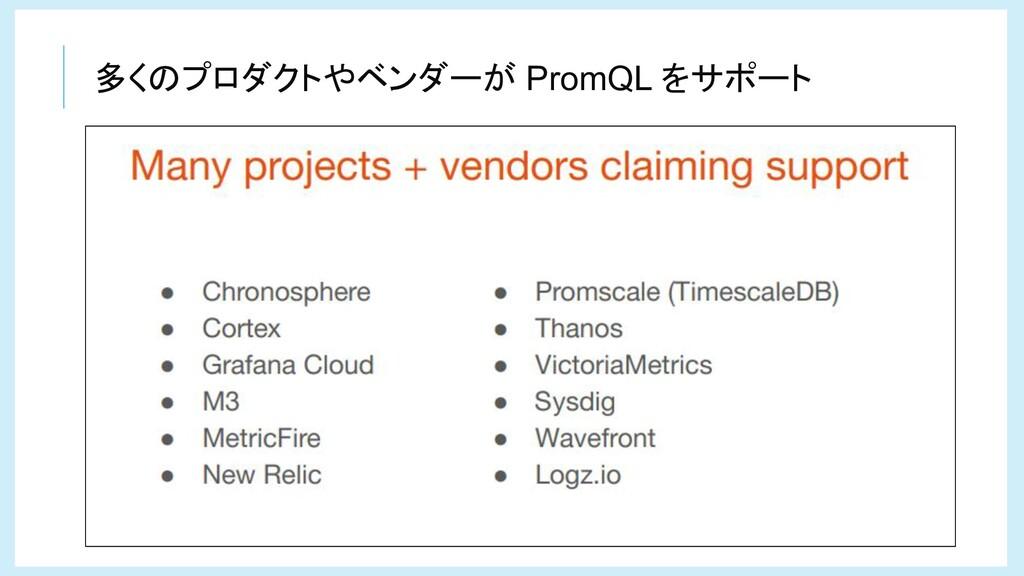 多くのプロダクトやベンダーが PromQL をサポート