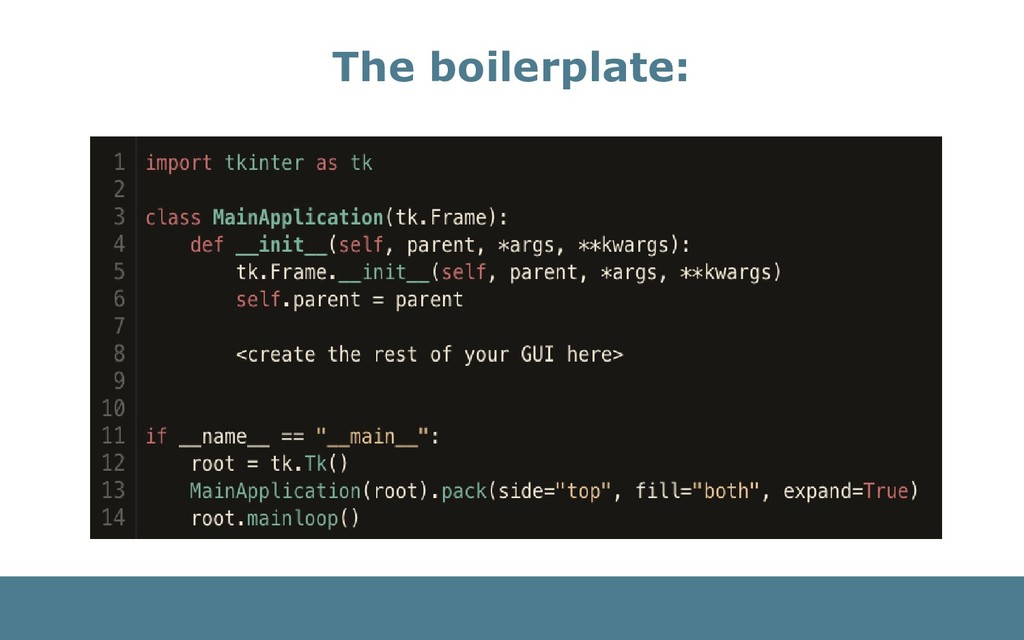 The boilerplate: