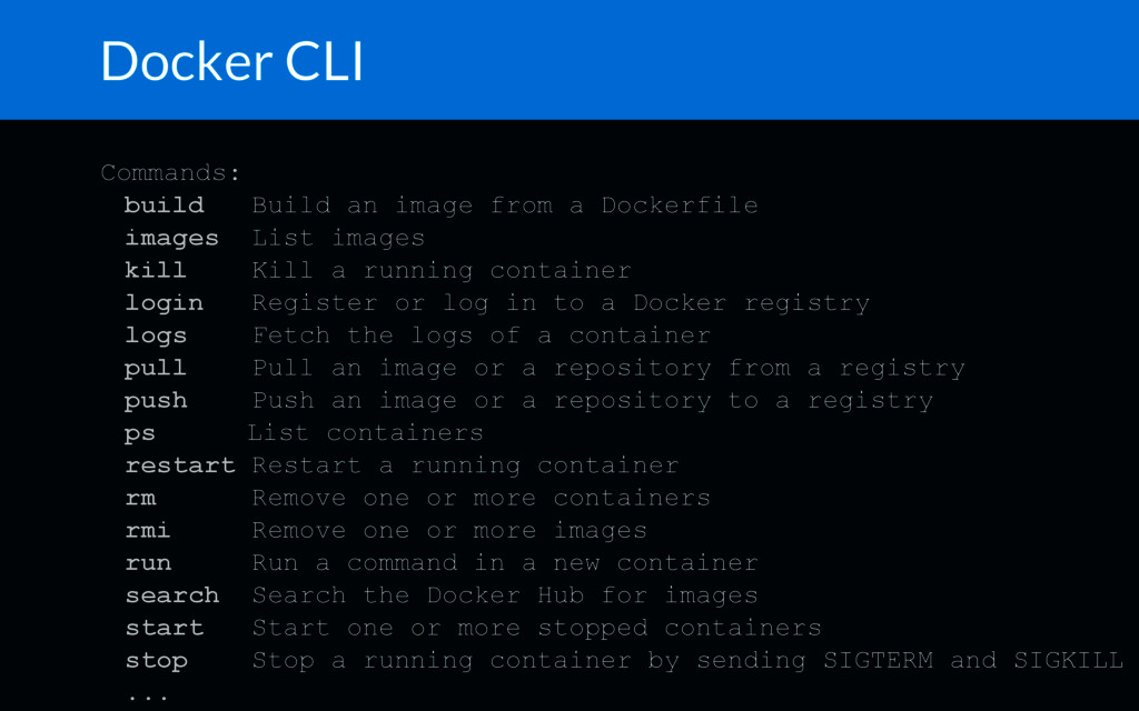 Docker CLI Commands: build Build an image from ...