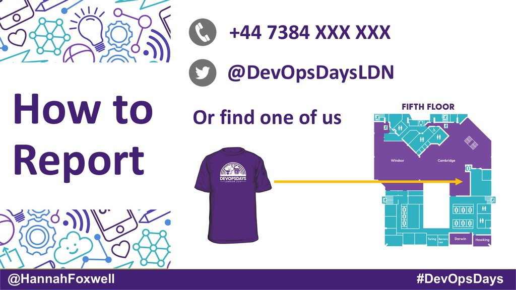 @HannahFoxwell #DevOpsDays How to Report +44 73...