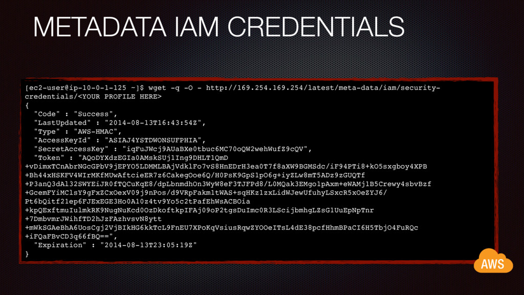 METADATA IAM CREDENTIALS [ec2-user@ip-10-0-1-12...