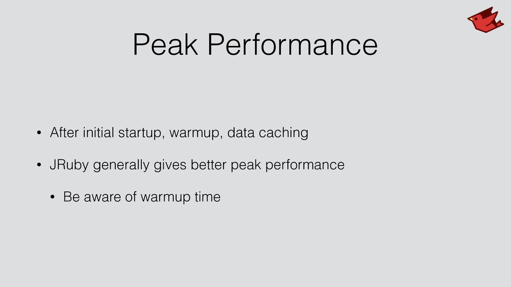 Peak Performance • After initial startup, warmu...