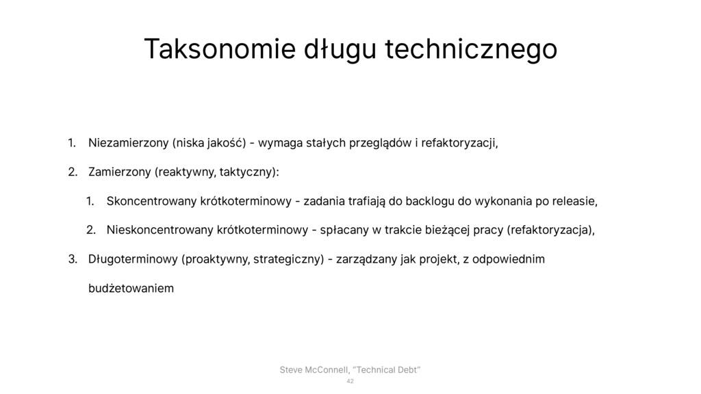 Taksonomie długu technicznego 1. Niezamierzony ...