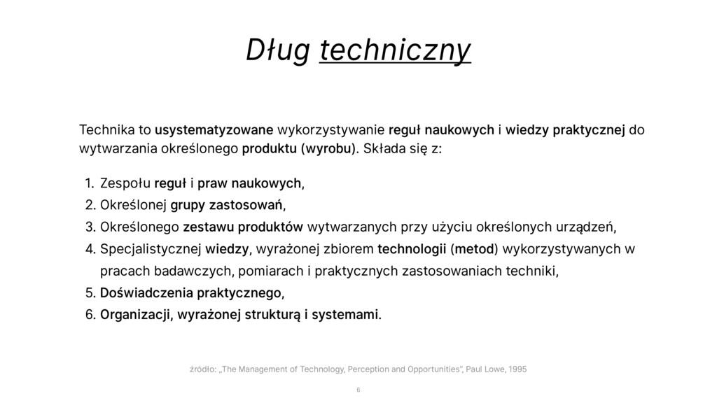 Dług techniczny Technika to usystematyzowane wy...