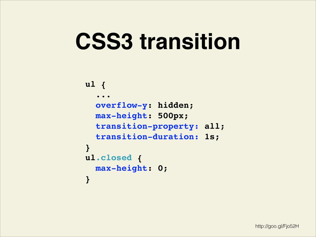CSS3 transition ul { ...! overflow-y: hidden;!...