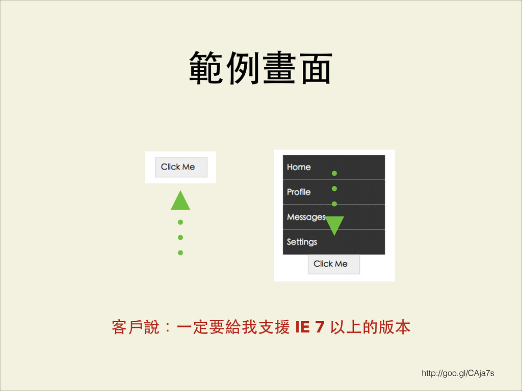 http://goo.gl/CAja7s 範例畫⾯面 客⼾戶說:⼀一定要給我⽀支援 IE 7 ...