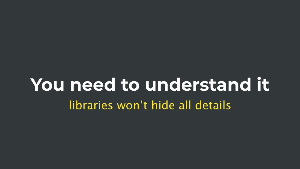 You need to understand it libraries won't hide ...
