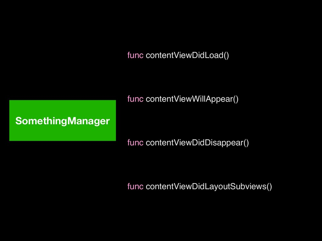 SomethingManager func contentViewDidLoad() func...