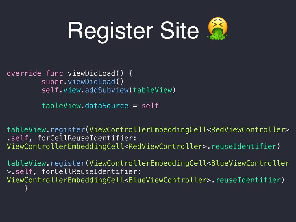Register Site  override func viewDidLoad() { su...