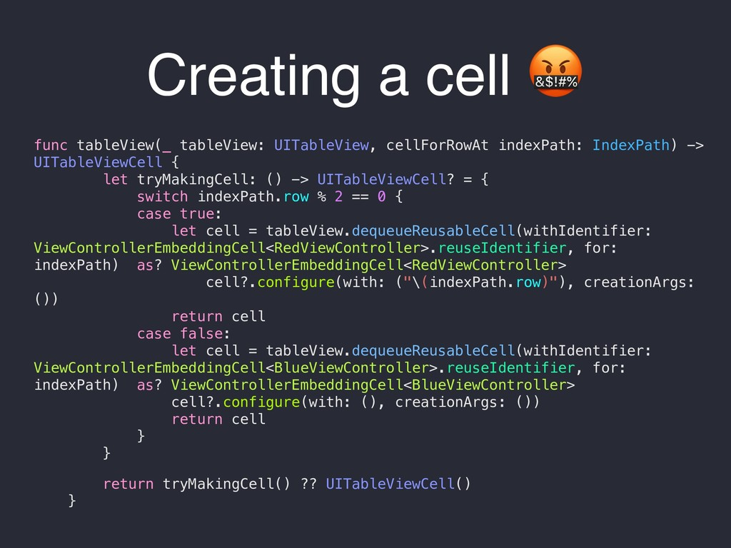 Creating a cell  func tableView(_ tableView: UI...