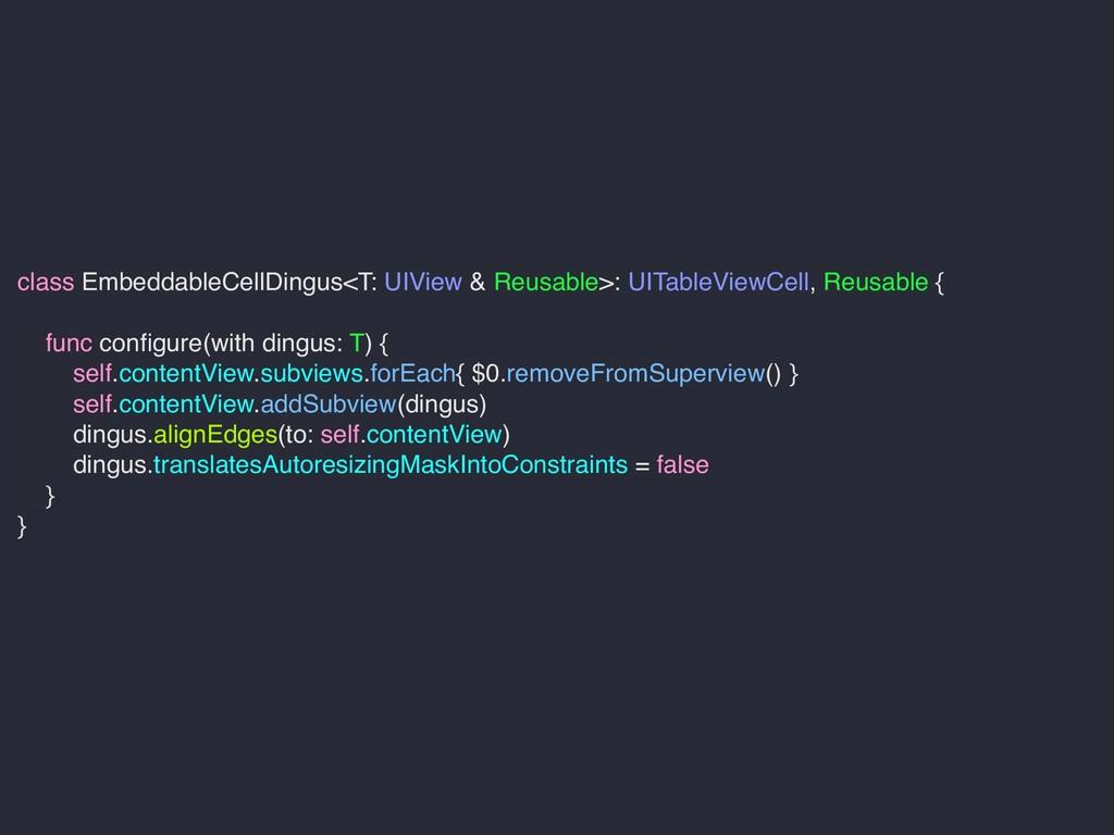 class EmbeddableCellDingus<T: UIView & Reusable...