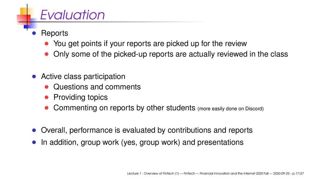 Evaluation Reports You get points if your repor...