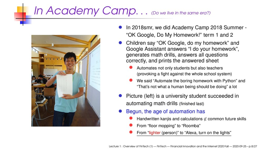 In Academy Camp . . . (Do we live in the same e...
