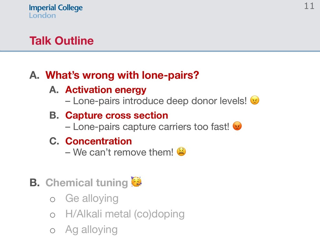 11 Talk Outline A. What's wrong with lone-pairs...