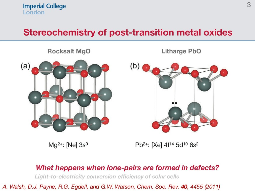 Stereochemistry of post-transition metal oxides...