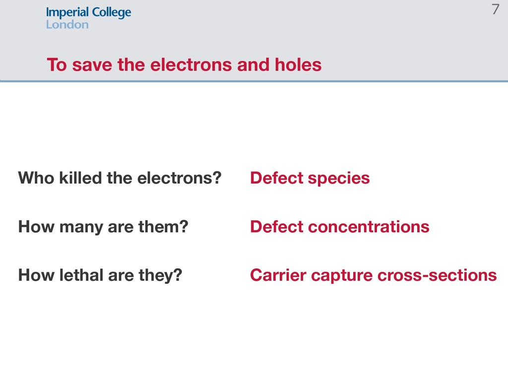 To save the electrons and holes 7 Who killed th...
