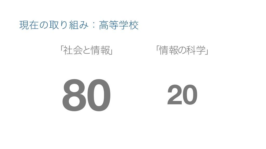 ݱࡏͷऔΓΈɿߴֶߍ ʮࣾձͱใʯ 80 20 ʮใͷՊֶʯ