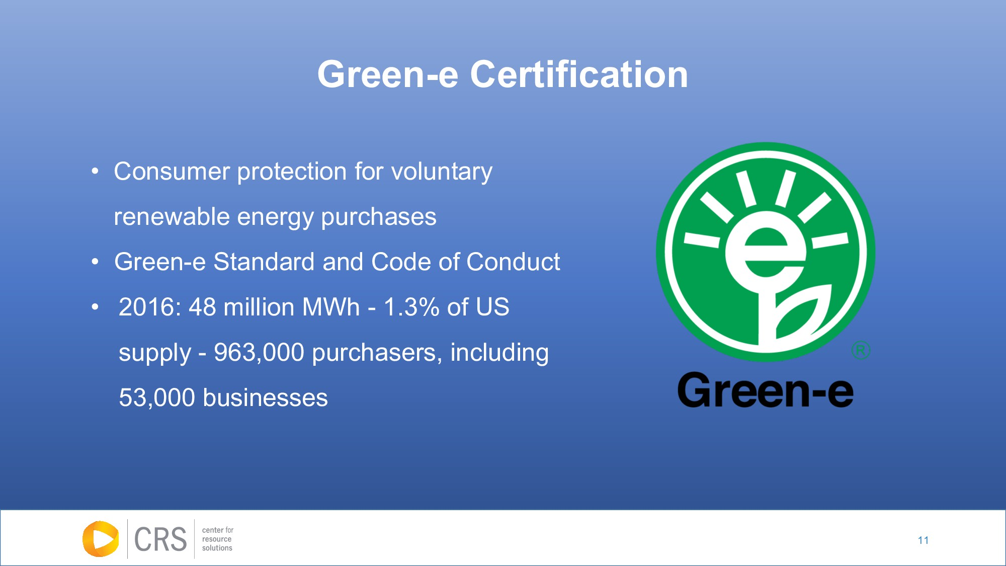 11 Green-e Certification • Consumer protection ...