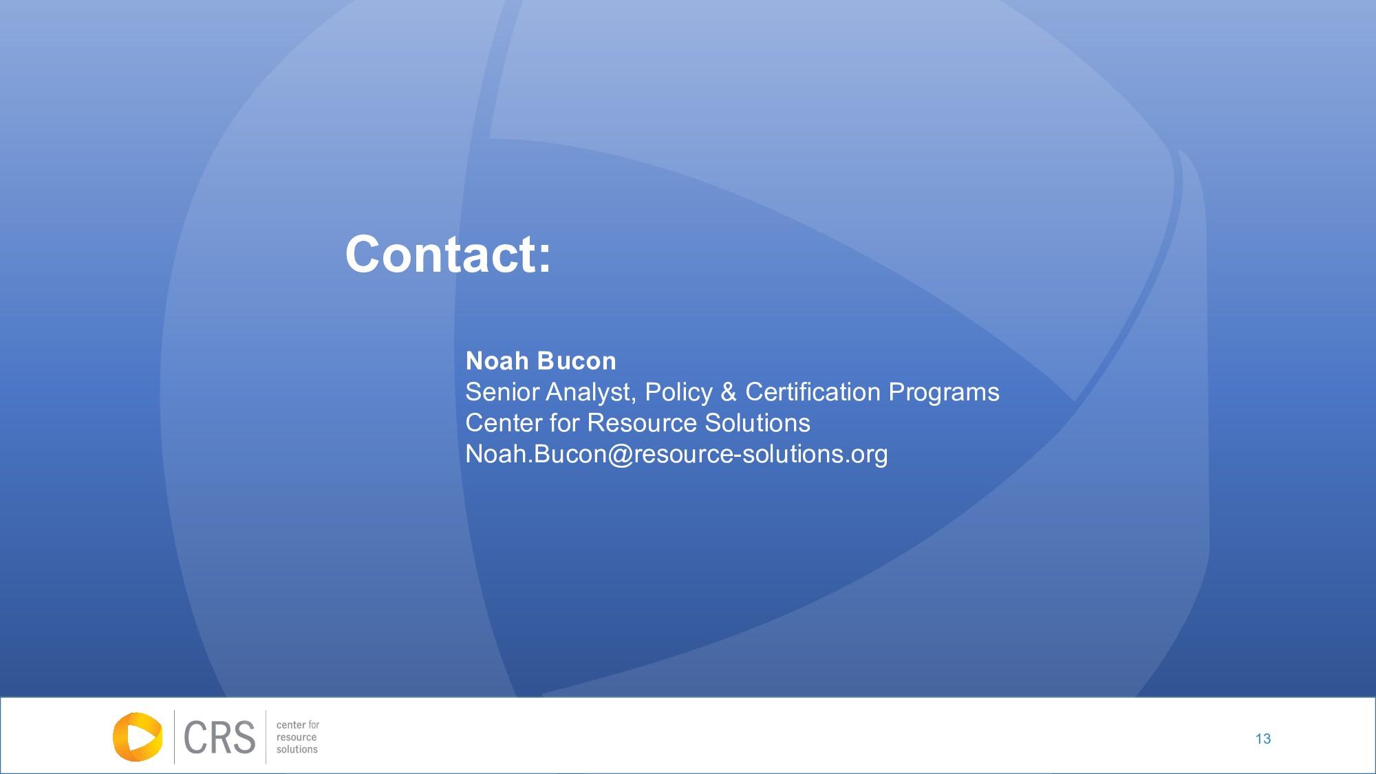 13 Noah Bucon Senior Analyst, Policy & Certific...