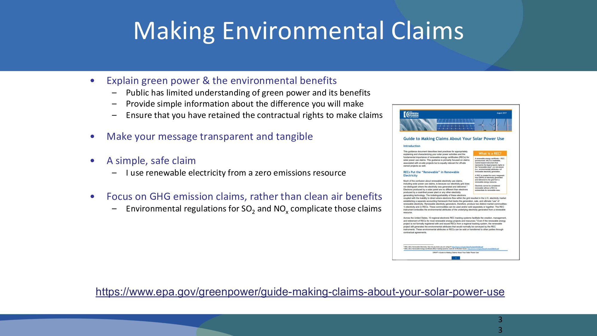 Making Environmental Claims • Explain green pow...