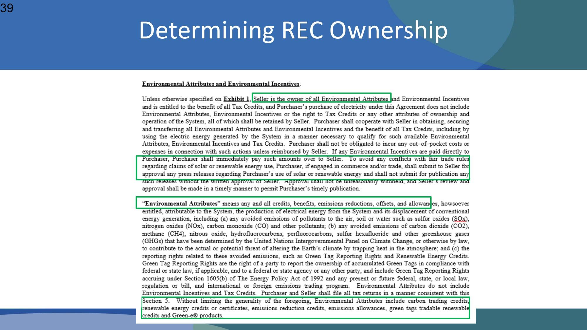 Determining REC Ownership 39
