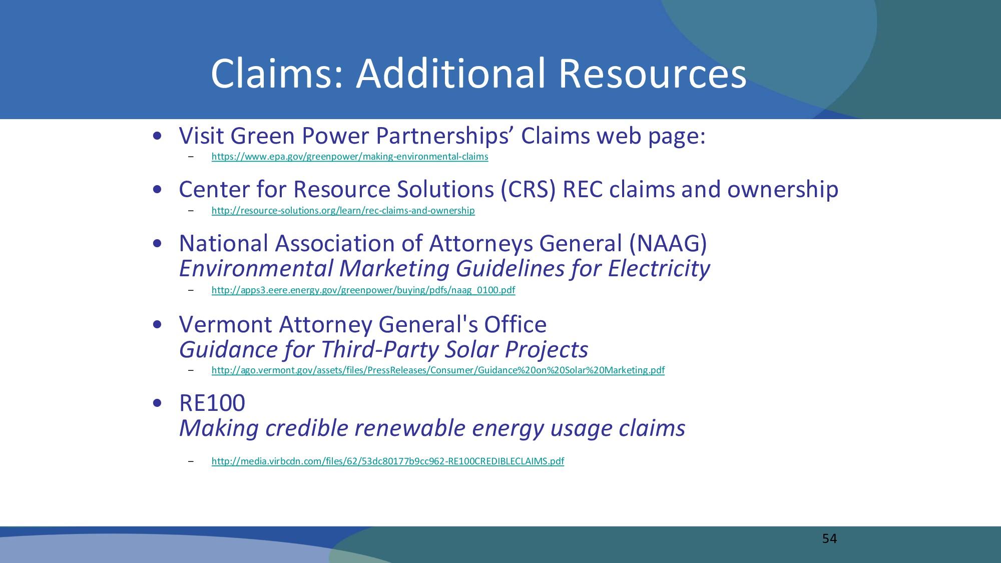 • Visit Green Power Partnerships' Claims web pa...