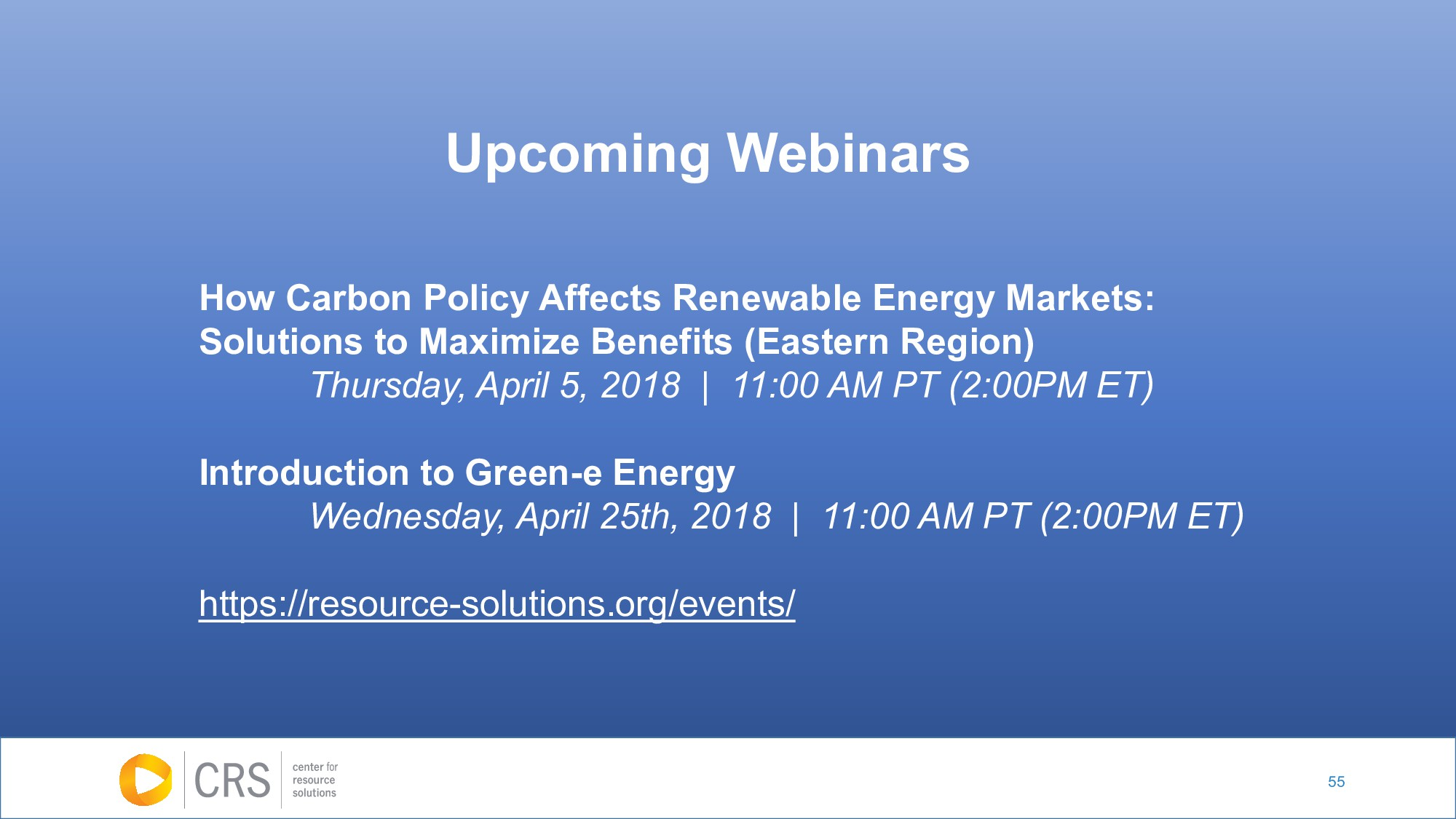 55 Upcoming Webinars How Carbon Policy Affects ...