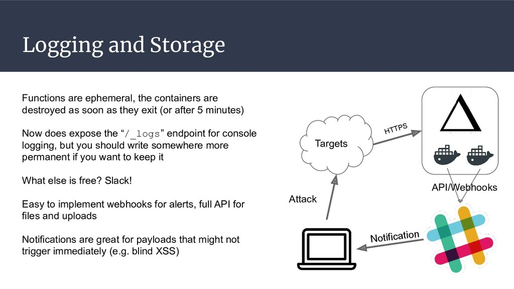 Logging and Storage Functions are ephemeral, th...