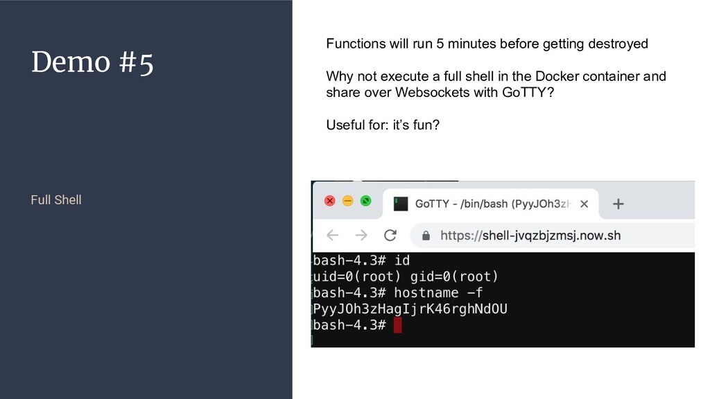 Demo #5 Full Shell Functions will run 5 minutes...