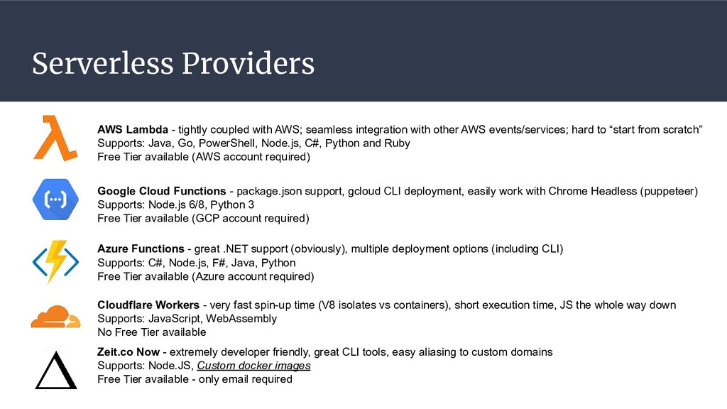 Serverless Providers AWS Lambda - tightly coupl...
