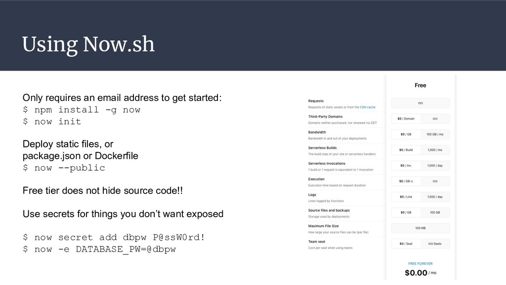 Using Now.sh Only requires an email address to ...