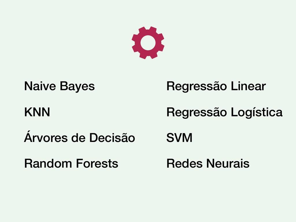 Naive Bayes KNN Árvores de Decisão Random Fores...