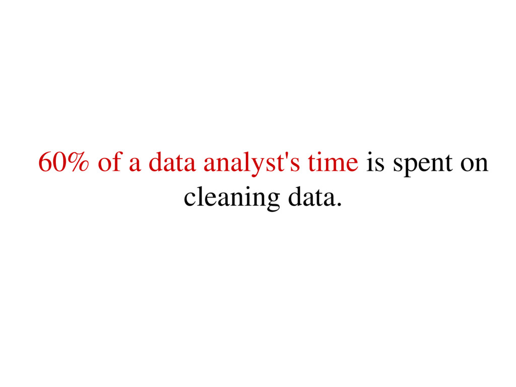 60% of a data analyst's time is spent on cleani...