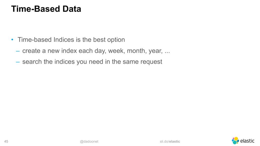 @dadoonet sli.do/elastic 45 Time-Based Data • T...
