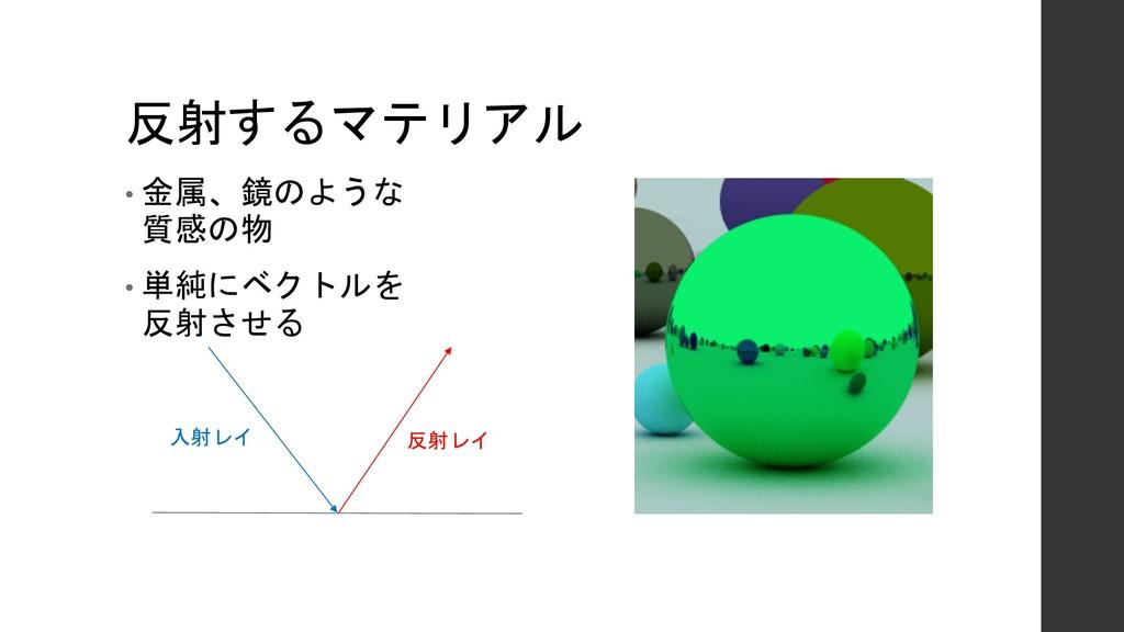 反射するマテリアル • 金属、鏡のような 質感の物 • 単純にベクトルを 反射させる 入射レイ...