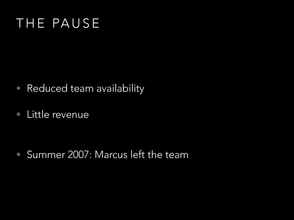 T H E PA U S E • Reduced team availability • Li...