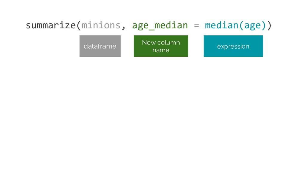 summarize(minions, age_median = median(age)) ex...