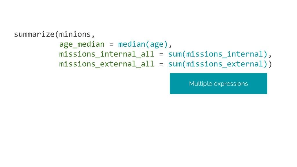 summarize(minions, age_median = median(age), mi...