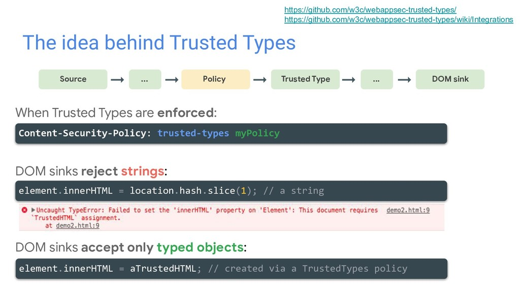 The idea behind Trusted Types → Source ... Poli...