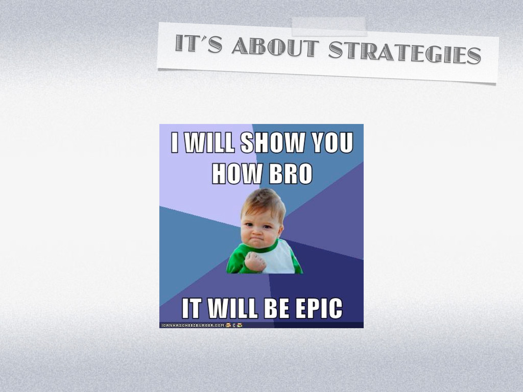 IT'S ABOUT STRATEGIES